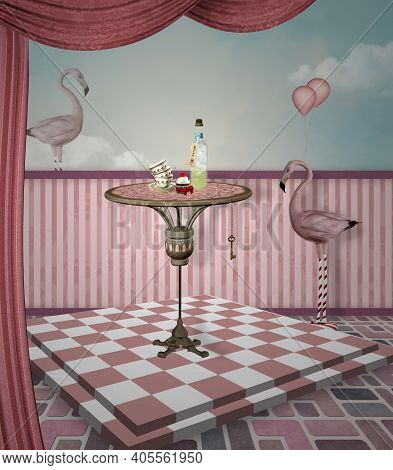 Wonderland Surreal Pink Room With A Table And Flamingos - 3d Illustration