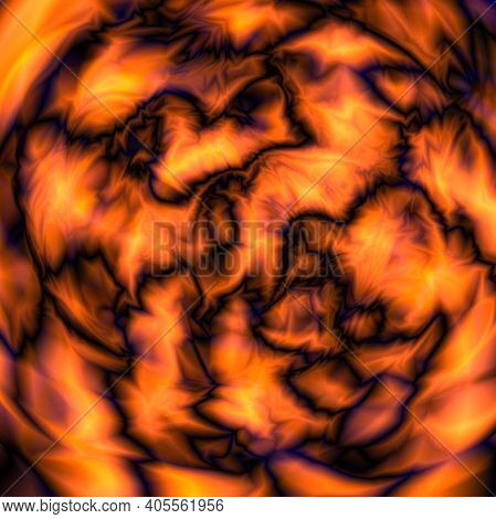 Glitch. Abstract Background. Lava Or Space, Alien Planet. Fire. Vector Illustration