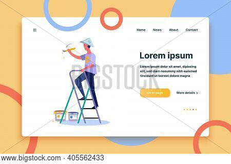 Cheerful Man Character Holding Brush And Painting. Painting Flat Vector Illustration. Renovation Con