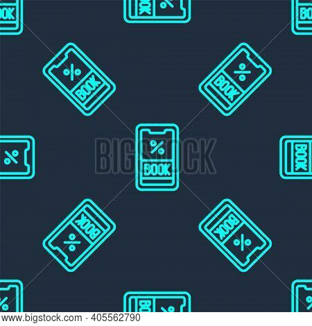 Green Line Cruise Ticket For Traveling By Ship Icon Isolated Seamless Pattern On Blue Background. Tr