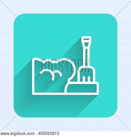 White Line Shovel In Snowdrift Icon Isolated With Long Shadow. Green Square Button. Vector