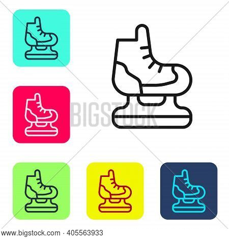 Black Line Skates Icon Isolated On White Background. Ice Skate Shoes Icon. Sport Boots With Blades.