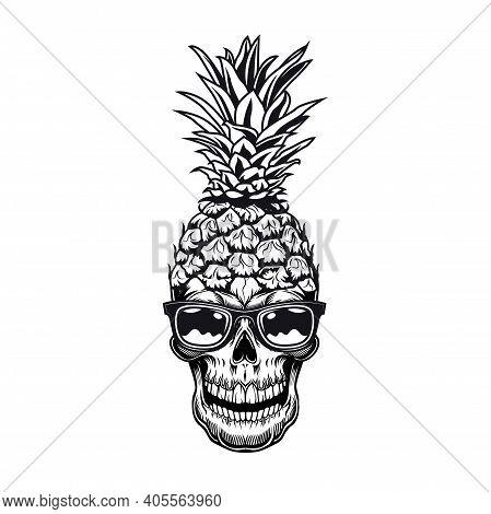 Fruit Skull Emblem Design. Monochrome Element With Skeleton Head In Sunglasses And Pineapple Peel Ve