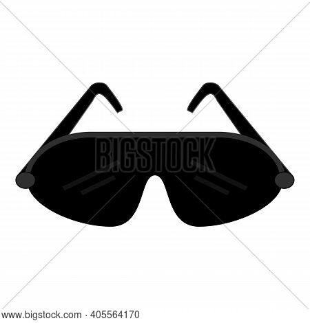 Safety Black Goggles Vector Icon. Sport Goggles Isolated Symbol. Illustration On White Background. S