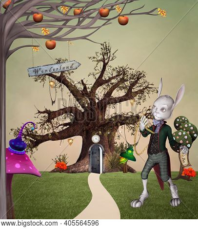 White Rabbit With Clock In A Fantasy Garden Inspired By Alice In Wonderland Fairytale - 3d Illustrat