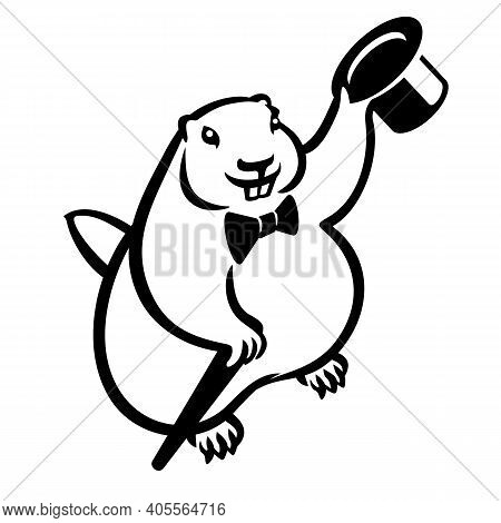 Marmot Groundhog With Hat Cylinder, Butterfly Tie And Cane. Groundhog Day. Black Sign Icon Vector Il
