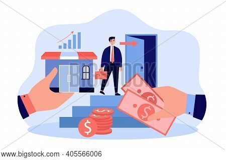 Business Owner Selling Company. Flat Vector Illustration For Bankruptcy, Change Of Ownership, Entrep