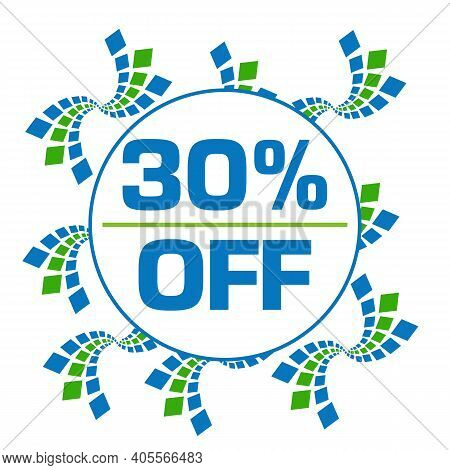 Thirty Percent Off Text Written Over Green Blue Background.