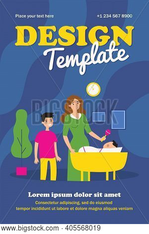 Mother And Son Playing With Baby In Cradle. Toy, Bedroom. Flat Vector Illustration. Family Concept C