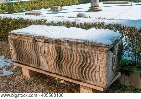 Rome, Italy - February 26, 2018: Sarcophagus Of National Museum Of Rome, Baths Of Diocletian Under S