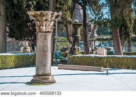 Rome, Italy - February 26, 2018: National Museum Of Rome, Baths Of Diocletian Under Snow. Abnormal S