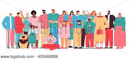 Big Diverse Family Members. Crowd Of Multicultural People Of Different Ages And Races Standing Toget