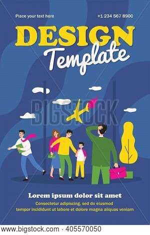 People Looking At Falling Plane In Panic. Airport, Window, Crash Flat Vector Illustration. Catastrop