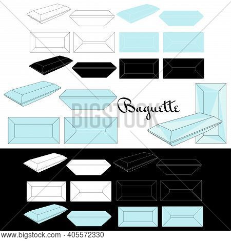 Baguette Cut. Types Of Diamond Cut. Four Sides Of Jewelry With Facets For Background, Carving And Co