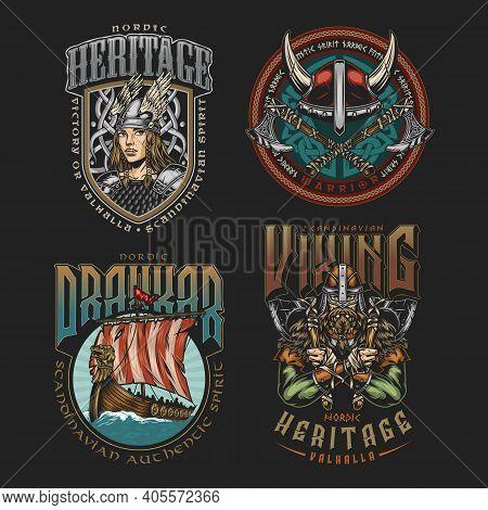 Viking Colorful Vintage Labels Set With Beautiful Valkyrie Drakkar Ship Horned Helmet Strong Medieva