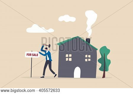 Home For Sale, Selling House Moving To New Home Concept, Home Owner Hammer For Sale Sign In Front Of