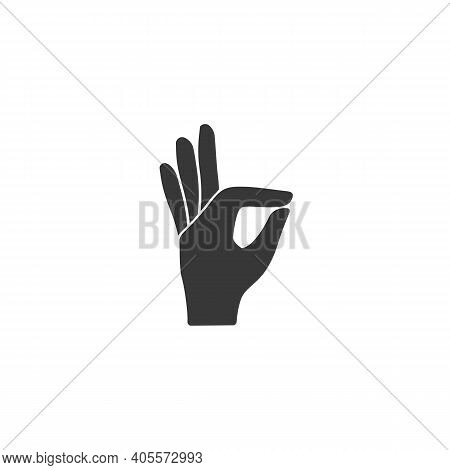 Gesture Okay Solid Icon. Ok Hand Gesture Vector Illustration Isolated