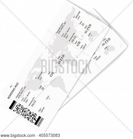Vector Illustration Of Two Boarding Pass. Flight Airline Tickets. The Boarding Pass Contains Fictiti