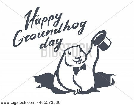 Marmot Groundhog With Hat From Hole In Ground. Groundhog Day Vector Illustration