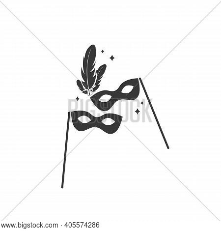 Carnival Masks Icon. Black Anonymous Mask Vector Icon