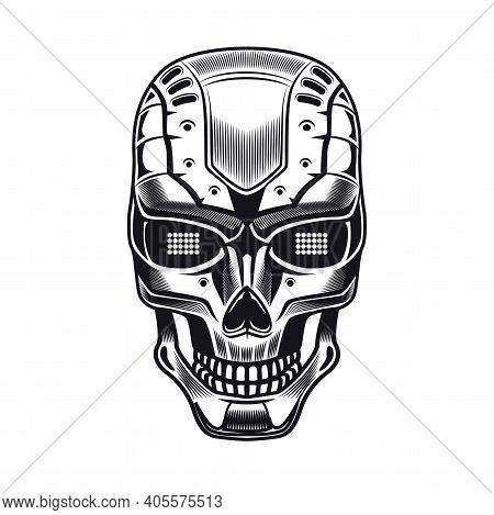 Robots Head Emblem Design. Monochrome Element With Humanoid Skull, Cyborg, Smart Machine Vector Illu