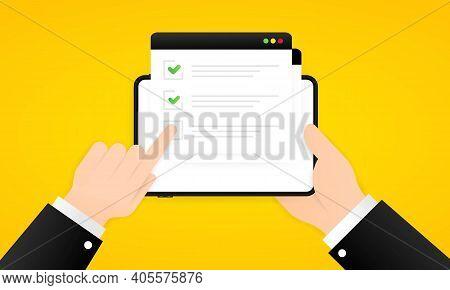 Online Survey Illustration. Check List Online Form On The Tablet. Report On Website Or Web Internet