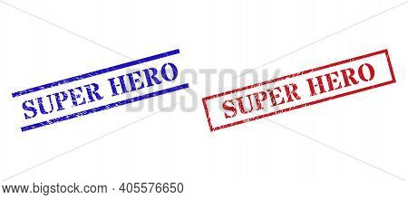 Grunge Super Hero Rubber Stamps In Red And Blue Colors. Stamps Have Draft Style. Vector Rubber Imita