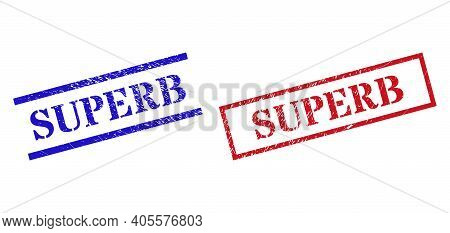 Grunge Superb Rubber Stamps In Red And Blue Colors. Stamps Have Distress Texture. Vector Rubber Imit
