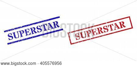 Grunge Superstar Seal Stamps In Red And Blue Colors. Stamps Have Rubber Texture. Vector Rubber Imita