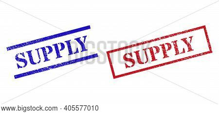 Grunge Supply Rubber Stamps In Red And Blue Colors. Stamps Have Distress Surface. Vector Rubber Imit