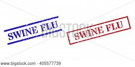Grunge Swine Flu Stamp Seals In Red And Blue Colors. Seals Have Rubber Style. Vector Rubber Imitatio