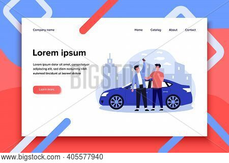 Happy Guys Celebrating Buying Car. Friends, Car Rent, Car Sharing Flat Vector Illustration. Driving,