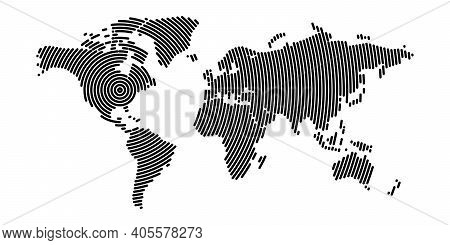 World Map Modern Design. Pattern Of Black Concentric Circle Stripes With Rounded Edges. Global Commu