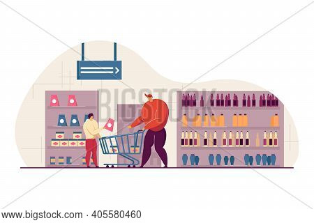 Happy Dad And Son Buying Food In Supermarket Flat Vector Illustration. Cartoon Young Father Wheeling