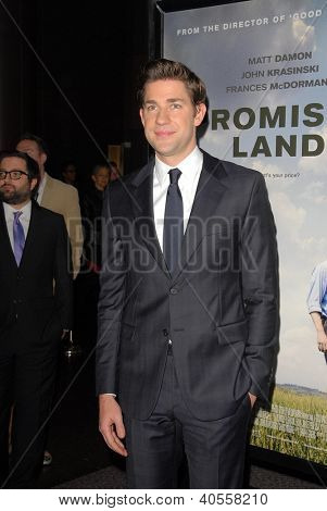 LOS ANGELES - DEC 6:  John Krasinski arrives at the 'Promised Land' Premiere at Directors Guild of America on December 6, 2012 in Los Angeles, CA