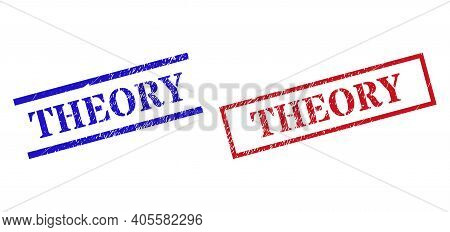 Grunge Theory Rubber Stamps In Red And Blue Colors. Seals Have Rubber Style. Vector Rubber Imitation