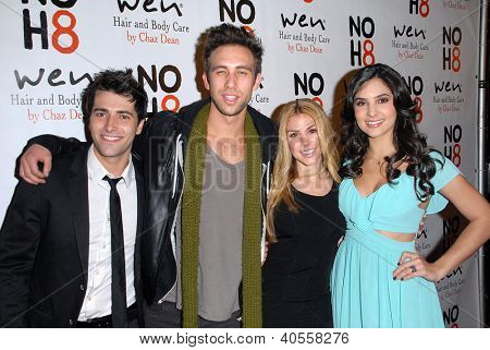 LOS ANGELES - DEC 12:  Freddie Smith, Blake Berris, Kate Mansi, Camila Banus arrive to the NOH8 4th Anniversary Party at Avalon on December 12, 2012 in Los Angeles, CA