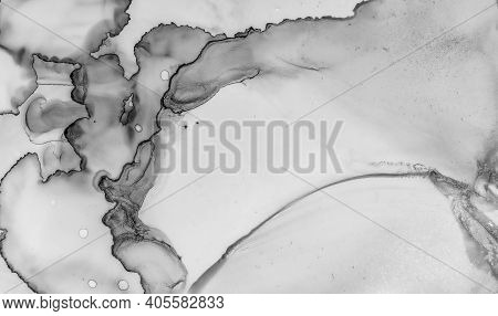 Gray Marble Texture. Abstract Architecture. Watercolor Ceramic Surface. Rock Wall Effect. Grey Marbl
