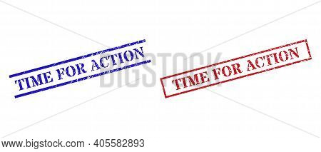 Grunge Time For Action Rubber Stamps In Red And Blue Colors. Stamps Have Rubber Style. Vector Rubber