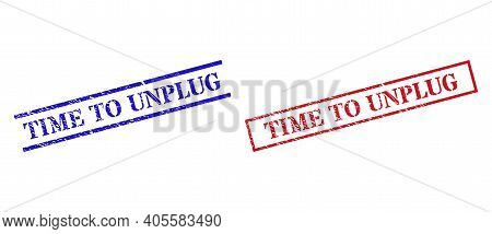 Grunge Time To Unplug Rubber Stamps In Red And Blue Colors. Stamps Have Distress Style. Vector Rubbe