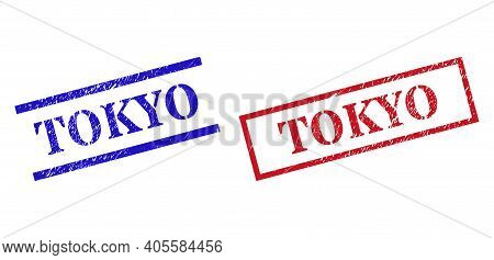 Grunge Tokyo Rubber Stamps In Red And Blue Colors. Seals Have Rubber Texture. Vector Rubber Imitatio