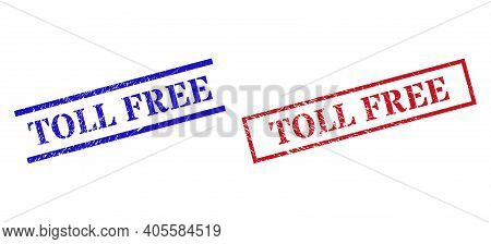 Grunge Toll Free Stamp Seals In Red And Blue Colors. Seals Have Rubber Texture. Vector Rubber Imitat