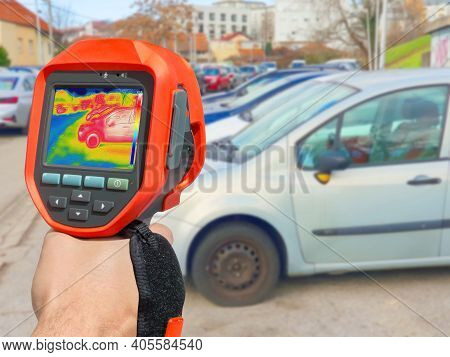 Recording With Thermal Camera Showing Parked Cars At Town Parking A Lot Of