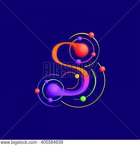 S Letter Logo With Atoms Orbits. Vector Vivid Icon Perfect To Use In Any Science Labels, Technology