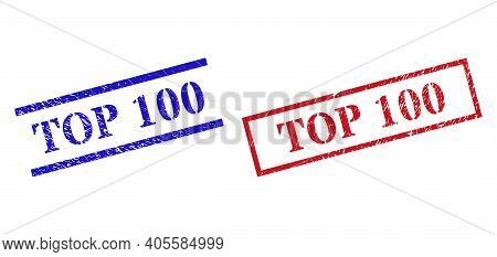 Grunge Top 100 Rubber Stamps In Red And Blue Colors. Stamps Have Rubber Texture. Vector Rubber Imita