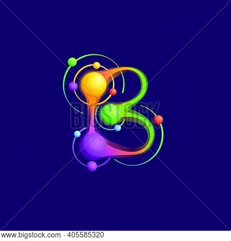 B Letter Logo With Atoms Orbits. Vector Vivid Icon Perfect To Use In Any Science Labels, Technology