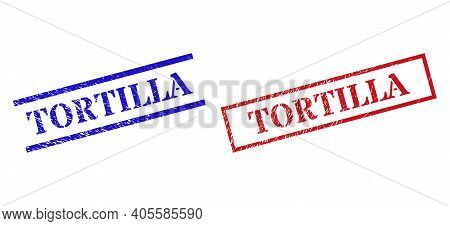 Grunge Tortilla Rubber Stamps In Red And Blue Colors. Stamps Have Rubber Texture. Vector Rubber Imit