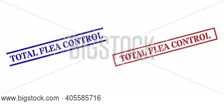 Grunge Total Flea Control Seal Stamps In Red And Blue Colors. Stamps Have Rubber Style. Vector Rubbe