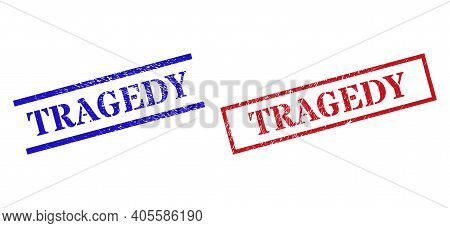 Grunge Tragedy Rubber Stamps In Red And Blue Colors. Stamps Have Draft Style. Vector Rubber Imitatio