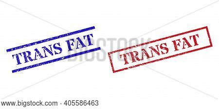 Grunge Trans Fat Rubber Stamps In Red And Blue Colors. Stamps Have Distress Texture. Vector Rubber I